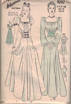 1940's formal dress pattern from the collection of Stephanie Pitchers