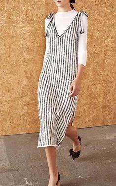 Striped Midi Dress with Ribbon Detail by Ulla Johnson   Moda Operandi