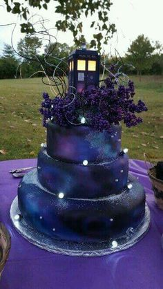 It's purple and has a TARDIS on top, I'm in love with this cake