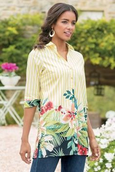 Petites Striped Floral Tunic from Soft Surroundings Floral Tunic, Floral Stripe, Floral Tops, Fashion Over 50, Fashion Tips, 50 And Fabulous, Spring Fashion, Soft Surroundings, Tunic Tops