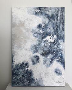 """""""Aallokon kohina"""",2017 tehty tilaustyönä ihanalle pariskunnalle. (60x90x3) #acrylicpainting #abstractart #modernart #art #taide #denimblue #interiordesign #konst #kunst #interiør #contemporaryart #abstraktitaide #sisustus #ekiljapaasoart #finland"""