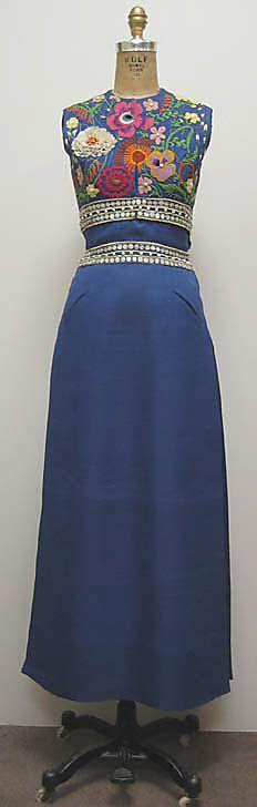 Ensemble, Madame Grès (Alix Barton), ca. 1968, French, silk, metallic, shell, plastic, metal, leather and silk
