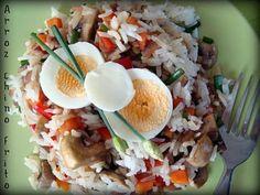 Esta receta no puede ser mas simple, rápida y económica. Se le puede colocar de todo... y queda buenísimo!. El secreto, es hacer el arroz con anticipación de 1 o 2 días. Una vez que se tiene el arroz, se puede acompañar con lo que más te guste - Receta...