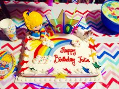 My 30th birthday rainbow Brite Costco cake! Very affordable! The stars on the borders are card stock I print out, rainbow ribbon, unicorn, and star from the craft store, and rainbow Brite from eBay. #rainbowbrite #rainbowbriteparty #costco #30thbirthday Rainbow Birthday Party, Rainbow Theme, Unicorn Birthday, Unicorn Party, 30th Birthday, Birthday Parties, Birthday Cakes, Costco Cake, Rainbow Ribbon