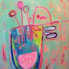 Abstract Flower Painting, Still Life Painting, Children's Room Decor, Abstract Acrylic Canvas, Original Art, Wall Art, Modern Home Decor