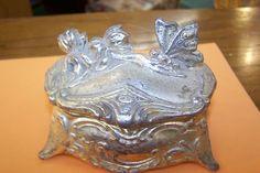 NICE art nouveau era silver toned metal JEWELRY casket/ box