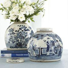 Hand-painted Chinese Lidded Jar - Social Circle