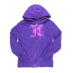 Hurley hoodie, purple hoodie for girls, purple zip-up sweatshirt