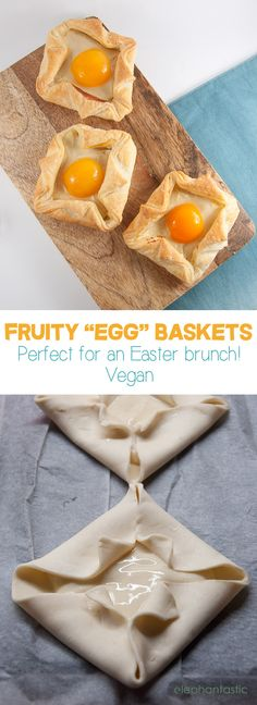 Recipe for Fruity Egg Baskets (vegan) -perfect for an Easter brunch!) and can be stored in the fridge for days. Best Vegan Desserts, Vegan Dessert Recipes, Vegan Treats, Delicious Vegan Recipes, Dairy Free Recipes, Raw Food Recipes, Brunch Recipes, Vegetarian Recipes, Brunch Ideas