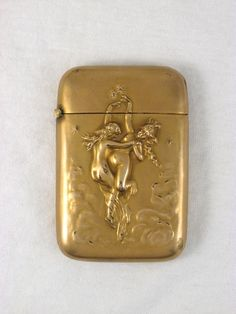 Antique Essex 442 Gilt Metal Match Safe Repousse Nude Circa 1900 in Antiques   eBay
