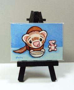 Ferret Soup ACEO Art Print from Original Painting - Shelly Mundel #FerretArt