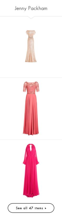 """Jenny Packham"" by snugget9530 ❤ liked on Polyvore featuring dresses, gowns, long dress, pink evening dress, sequin evening gowns, floor length gowns, sequin gown, long sleeve evening dresses, pink and pink evening gowns"