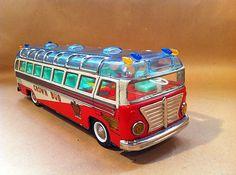 Super RARE 60's AA Tin Greek Crown Bus Batt Op Litho Alps Japan Copy