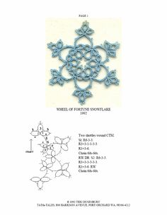 TATtle TALES Tatting Patterns: Tatting Snowflake Pattern Wheel of Fortune