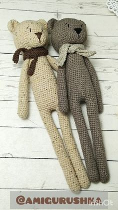 Animal Knitting Patterns, Crochet Dolls Free Patterns, Stuffed Animal Patterns, Stuffed Animals, Knitting Bear, Crochet Bear, Crochet Teddy, Montessori Baby Toys, Kit Bebe