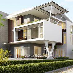Biệt Thự Anh Hoàng Bình Dương Villa Design, House Front Design, Modern House Design, Modern Exterior, Exterior Design, Modern Minimalist House, Ultra Modern Homes, 3d Home, Corner House