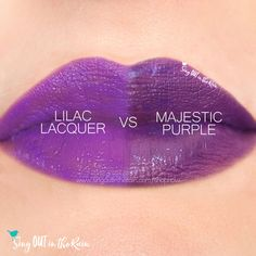Compare Majestic Purple vs. Lilac Lacquer LipSense using this photo. Majestic Purple is part of the Intense Hues Collection by SeneGence.