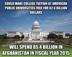 Image Credit: Satanic Capitalist (Tumblr) + With the U.S. government already doling out over $250 billion in federal aid, those Afghanistan dollars could literally cover the rest of America's public tuition fees for a fraction of the cost, and then some.