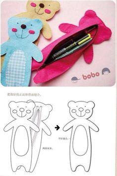 I love this idea for kids Felt Diy, Felt Crafts, Kids Crafts, Sewing Crafts, Sewing Projects, Diy Pencil Case, Pencil Bags, Felt Patterns, Pen Case