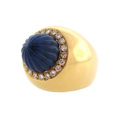 Vintage Carved Lapis Diamond & Gold Cocktail Ring