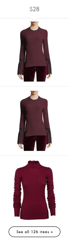 """S28"" by katiemarilexa ❤ liked on Polyvore featuring tops, sweaters, red, crew neck sweater, red sweater, red pullover, long sleeve pullover sweater, red crew neck sweater, women's apparel tops and purple sweater"