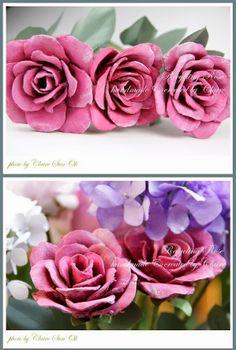 * Decoração e Invenção *: 3 PAPs de Rosas com caixa de ovos