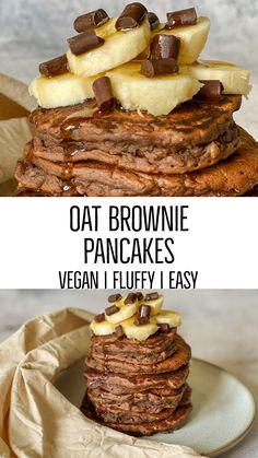 Oats Recipes, Fruit Recipes, Vegan Recipes, Crepes And Waffles, Vegan Pancakes, Vegan Sweets, Healthy Desserts, Vegetarian Breakfast Recipes, Vegan Brownie