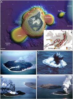 Location and eruptive activity at Surtsey - A) Bathymetry of Surtsey as of 2007 multibeam survey