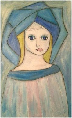 Blue lady - inspired by Kai Fjells work - see pinner Bente Avery for many more famous Norwegian painters.