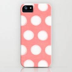painted polka dots - coral and white iPhone & iPod Case by her art