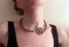 Unique beige and brown crochet open choker with crochet flower and semi precious beads by MazeOfLace