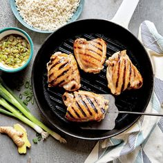 Grilled Chicken Thighs with Ginger Sauce | MyRecipes.com #myplate #protein