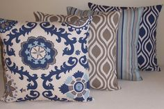 Set of 3 Throw Pillow Covers 20x20 Navy and Tan on by ktechstyles, $49.50