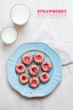 Strawberry Buttermilk Mini Donuts