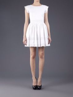Red Valentino NWT $695 White Embroidery Detail Dress SZ 40 SZ 2