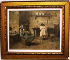 Almeida Jr -Cena do interior -Oleo sobre tela -Assinado no canto inferior direito -Medindo 55 x 70