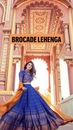 Indian Fashion Dresses, Indian Outfits, Indian Clothes, Brocade Lehenga, Lehenga Choli, Saree, Orange Lehenga, Choli Dress, Festival Wedding