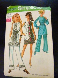 1969 Mini Dress with Pants Size 12 Bust 34.