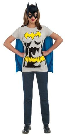 Halloween Batgirl T-Shirt With Cape And Mask