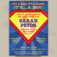Printable Superman Baby Shower Invitation by double u design on Etsy