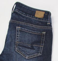 AEO American Eagle Artist Crop Jeans Low Rise Dark Wash Whisking sz 2 X 26…