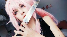 Yuno gasai cosplay/mirai nikki #featurediary #mirainikki #yunogasai #yuno #psycho #pink #cosplay #kawaiipsycho #anime #animeadict #littleblackdress #wig #knife #aesthetic