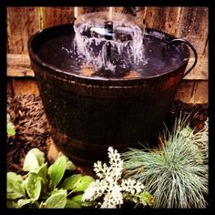 My sister's awesome whiskey barrel fountain...she made it herself!