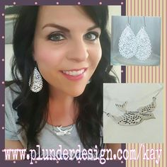 """Vintage Style Jewelry with a modern touch, at affordable prices! White Drop earrings,  2016 Plunder Anthem """"I Choose Happy"""" necklace.  Plunder Design Jewelry. Go to www.facebook.com/groups/VintageJewelryWithKay to hear about corporate specials!"""