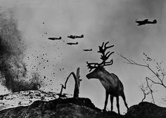 The Subarctic, deer Yasha, 1941. Photograph  by Soviet WWII photojournalist Evgeny Khaldei. #WWII