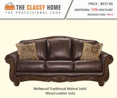 Mellwood Traditional Walnut Solid Wood Leather Sofa