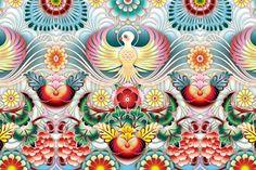 By Catalina Estrada; love the wings! Textile Patterns, Textile Design, Art Nouveau, Make A Cartoon, Sweet Station, Retro Art, Art Studies, Wall Wallpaper, Folk Art