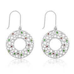Genuine Rhodium Plated Earrings with Ruby Red and Emerald Cubic Zirconia Polished into a Lustrous Silvertone Finish