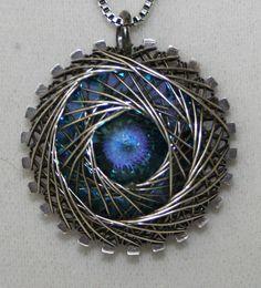 Sterling Silver Spiro (Spiral)  Necklace With Blue Swarovski Rivoli on Etsy, $60.00