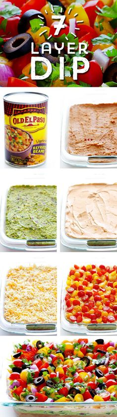 Need a delicious dish to share? This Colorful 7 Layer Dip from @gimmesomeoven  is sure to be a hit! Start with Old El Paso™ Refried Beans, and pile on layer after layer of fresh, colorful ingredients... and voila! You have a dish perfect for sharing in 25 minutes!